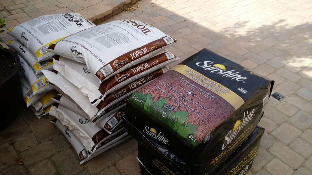 Bags of soil ready for mixing!