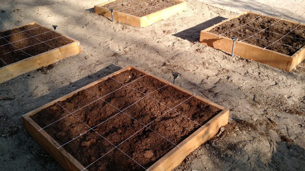 garden boxes assembled with drip manifold